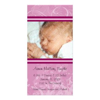 Rosa kort för foto för modstilnyfödd bebis fotokort