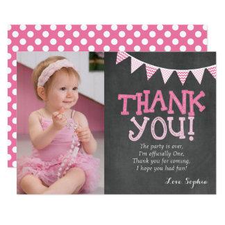 Rosa kort för polka dotsfödelsedagtack 12,7 x 17,8 cm inbjudningskort