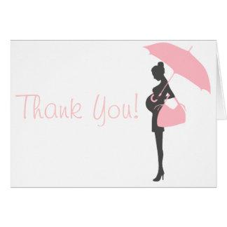 Rosa kort för Silhouettebaby showertack