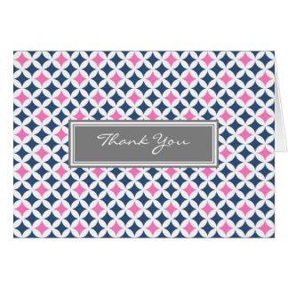 Rosa kort för tack för bröllop för grå färgblåttmö