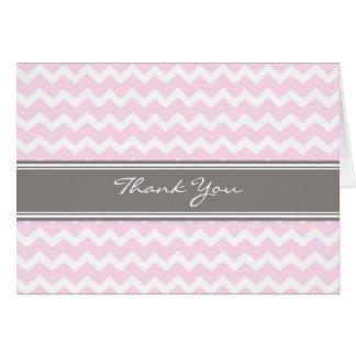 Rosa kort för tack för grå färgsparrebröllop
