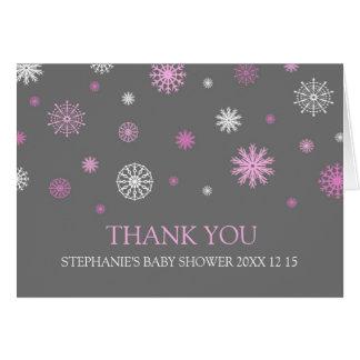Rosa kort för tack för snövinterbaby shower