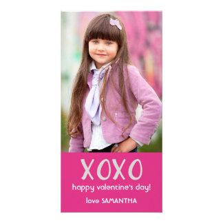 Rosa kort för XOXO-valentinfoto