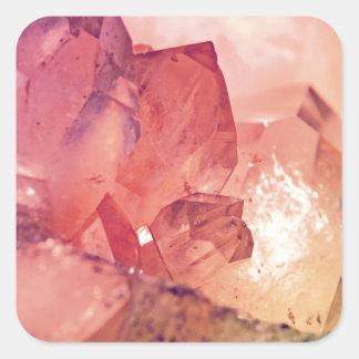 rosa kvartar fyrkantigt klistermärke