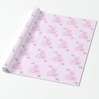 Rosa kvarter och stjärnababy shower presentpapper