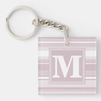 Rosa kvartrandar för Monogram Fyrkantigt Dubbelsidigt Nyckelring I Akryl