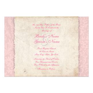 Rosa landsbyggsbröllopinbjudan