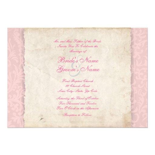 Rosa landsbyggsbröllopinbjudan inbjudningskort