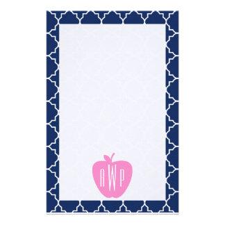 Rosa lärare för Apple marinQuatrefoil Monogram Brevpapper