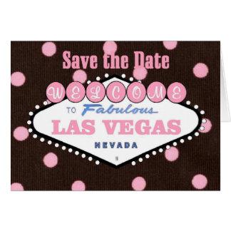 Rosa Las Vegas för mocka spara daterakortet Hälsningskort