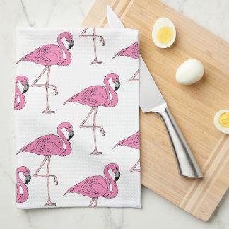Rosa lax - Flamingomönster Kökshandduk