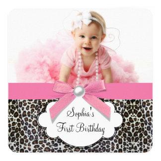 Rosa Leopardfödelsedagsfest för flickor Fyrkantigt 13,3 Cm Inbjudningskort