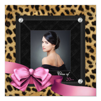 Rosa Leopardfototillkännagivande för studenten Fyrkantigt 13,3 Cm Inbjudningskort