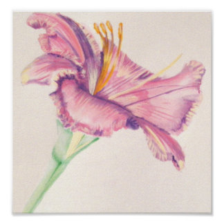 Rosa liljaakrylmålning poster