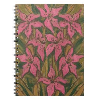 Rosa liljar, pastellfärgad målning, blommor, blom- anteckningsbok med spiral