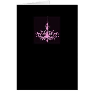 Rosa ljuskrona på svart kort