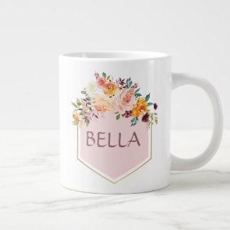 Rosa logotyppersonlig mugg för blom- bukett jumbo mugg