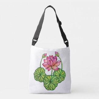 Rosa lotusblomma för vattenfärg med knoppar & löv axelväska