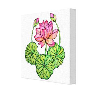 Rosa lotusblomma för vattenfärg med knoppar & löv canvastryck