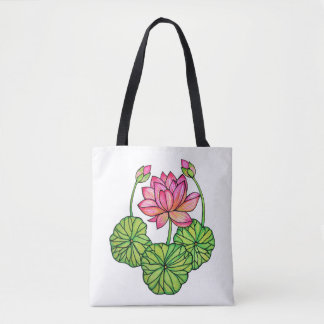 Rosa lotusblomma för vattenfärg med knoppar & löv tygkasse