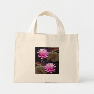 Rosa lotusblomma med fred mini tygkasse