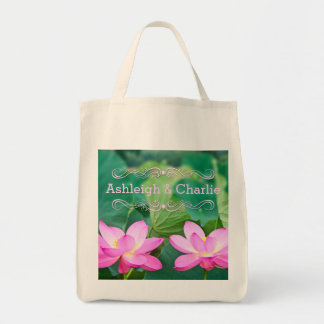 Rosa lotusblommar kopplar ihop inspiration parar tote bag