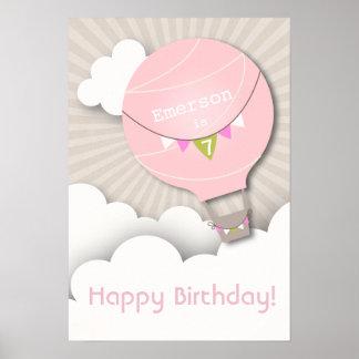 Rosa luftballongfödelsedagaffisch poster
