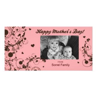Rosa lycklig mall för mors dagfotokort fotokort
