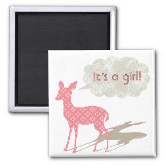 Rosa magnet för Bambi babymeddelande