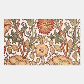 Rosa märkes- tyg för blommönstervintage rektangulärt klistermärke