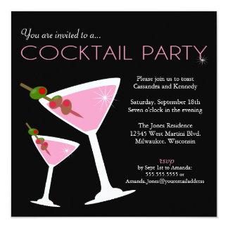 Rosa Martini cocktailpartyinbjudan Fyrkantigt 13,3 Cm Inbjudningskort