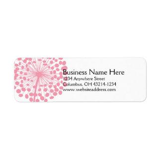Rosa maskrosreturetiketter 2 returadress etikett