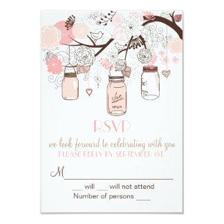 Rosa Masonburk- och love birdsOSA som gifta sig 8,9 X 12,7 Cm Inbjudningskort