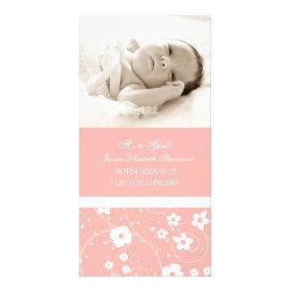 Rosa meddelande för födelse för fotomallnyfödd beb fotokort