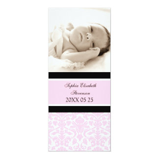 Rosa meddelande för födelse för fotomallnyfödd 10,2 x 23,5 cm inbjudningskort