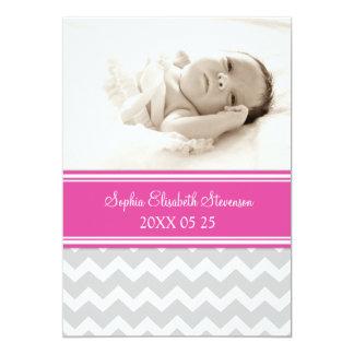 Rosa meddelande för födelse för fotomallnyfödd 12,7 x 17,8 cm inbjudningskort