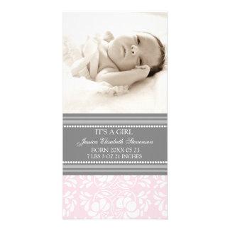 Rosa meddelande för födelse för grå färgmallnyfödd hälsningskort med foto