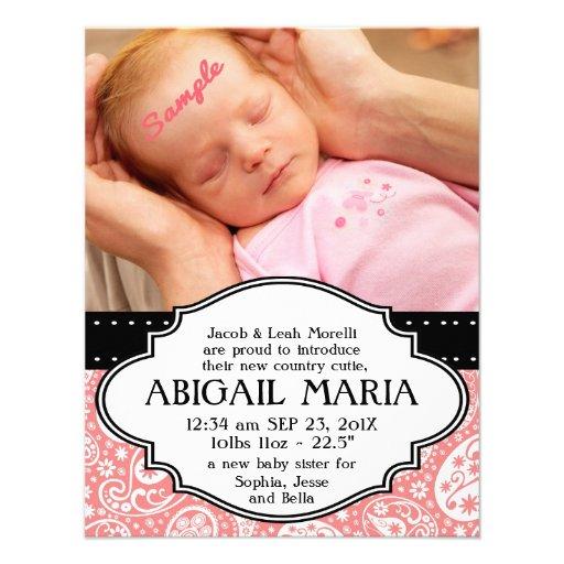 Rosa meddelande för födelse för Paisley nyfödd beb Tillkännagivande