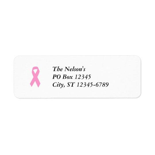Rosa medvetenhetband returadress etikett