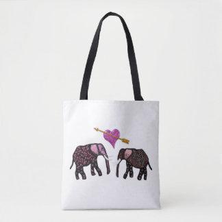 Rosa metalliska elefanthjärtor tygkasse