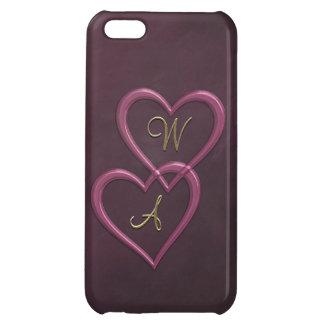 Rosa metalliska hjärtor på lilor iPhone 5C skal
