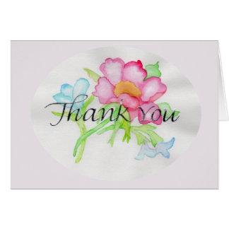 Rosa mini- blom- bukett TY för rosa vattenfärgvild Hälsningskort