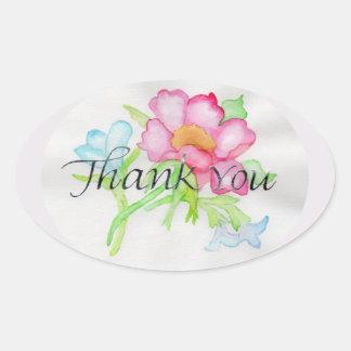 Rosa mini- blom- bukett TY för rosa vattenfärgvild Ovalt Klistermärke