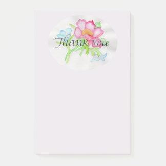 Rosa mini- blom- bukett TY för rosa vattenfärgvild Post-it Block