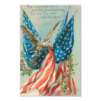Rosa minnesdagen för US-flaggaörn Fototryck