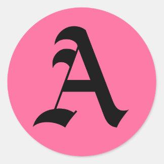 Rosa Monogram A Runt Klistermärke