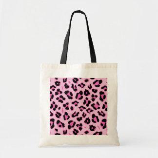 Rosa mönster för fläckar för svart för CheetahLeop Budget Tygkasse