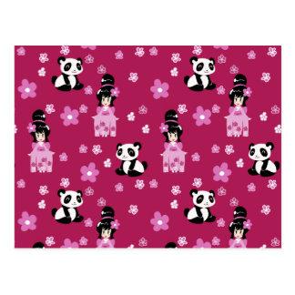 Rosa mönster för GeishaPandablomma Vykort