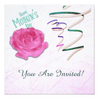 Rosa mors dag och konfettiinbjudan fyrkantigt 13,3 cm inbjudningskort