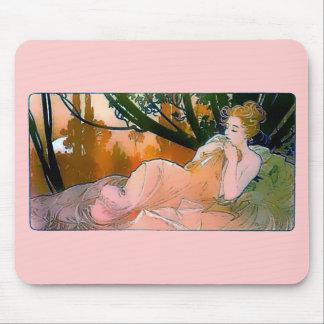 Rosa Mucha för kvinna art nouveau Mus Mattor